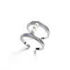 Pearls Bar Ring Silver Plated