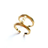 Pearls Bar Ring 18K Yellow Gold Plated
