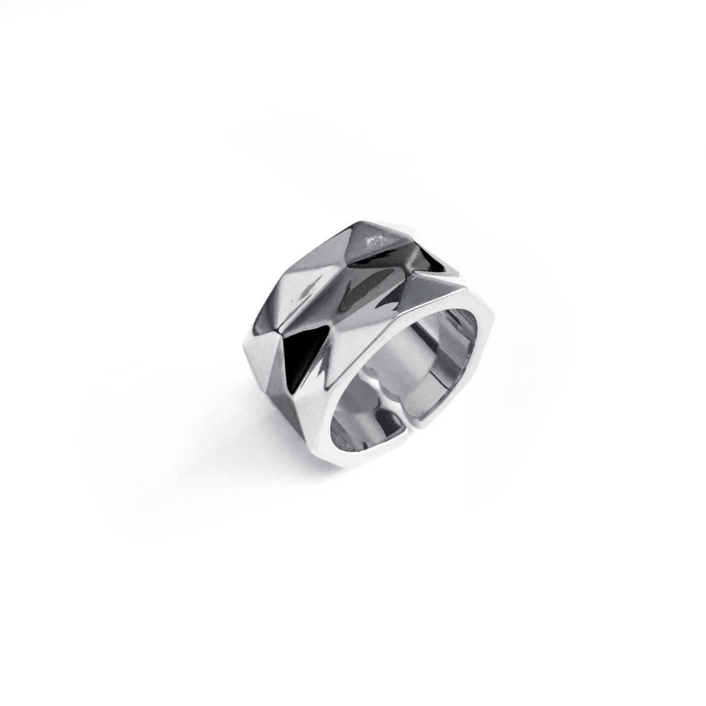 Chainless Brain - Colour Block Facets Ring (Silver)