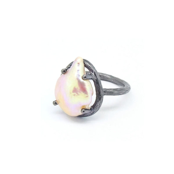 Pearl Ring (Black Silver) - Chainless Brain