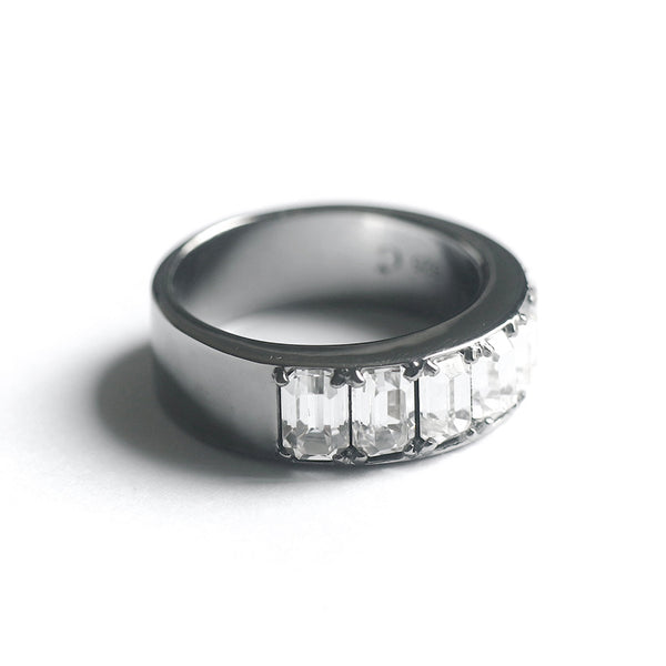 Clear Octagon Fancy Ring (Dark Silver) - Chainless Brain