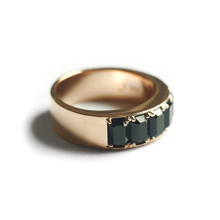 Black Octagon Fancy Ring (Rose Gold) - Chainless Brain