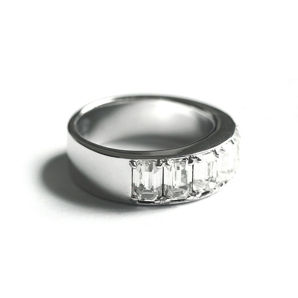 Clear Octagon Fancy Ring (Silver) - Chainless Brain