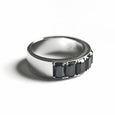 Black Octagon Fancy Ring (Silver) - Chainless Brain