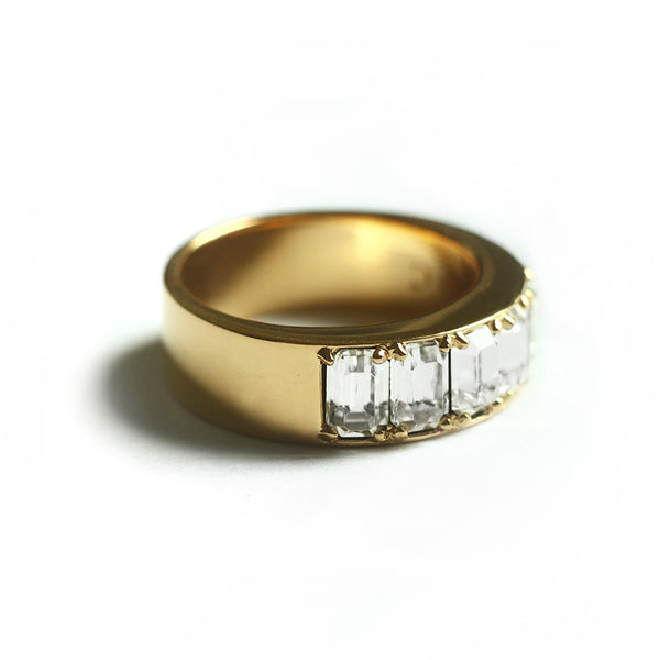 Clear Octagon Fancy Ring (Yellow Gold) - Chainless Brain