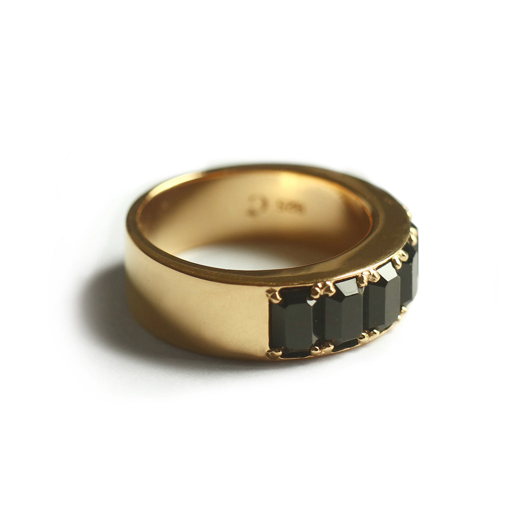 Black Octagon Fancy Ring (Yellow Gold) - Chainless Brain