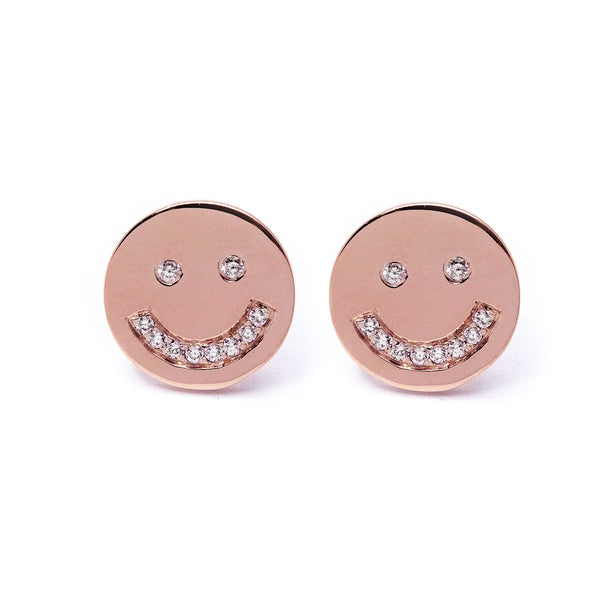 Smiling Face Earrings (Rose Gold) - Chainless Brain