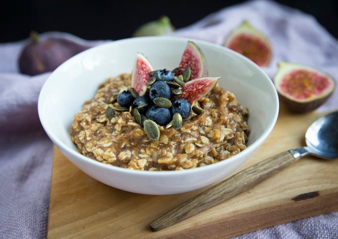 blueberry, fig and pumpkin seed oatmeal
