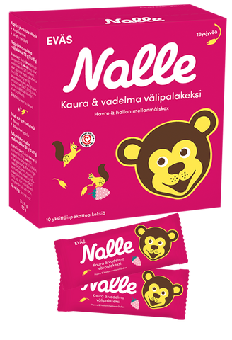 Nalle Wholegrain Oat & Raspberry Snack Biscuit (10x15 g)