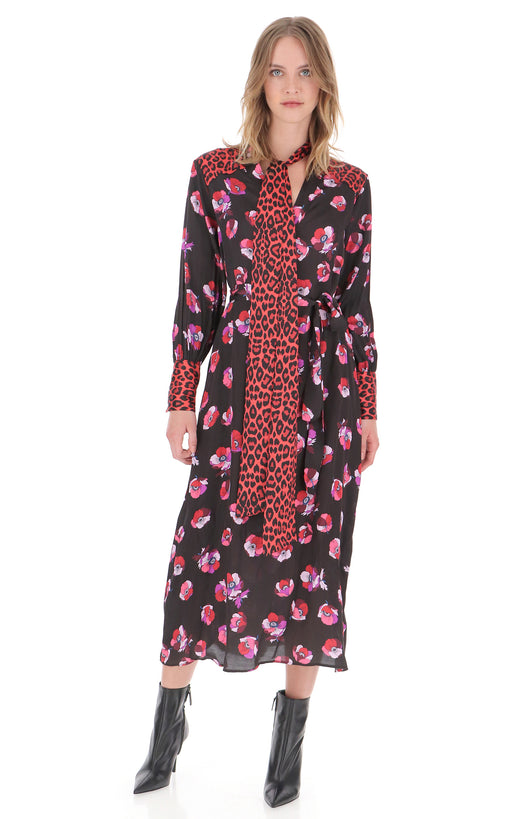 FLORAL DRESS WITH ANIMAL PRINT