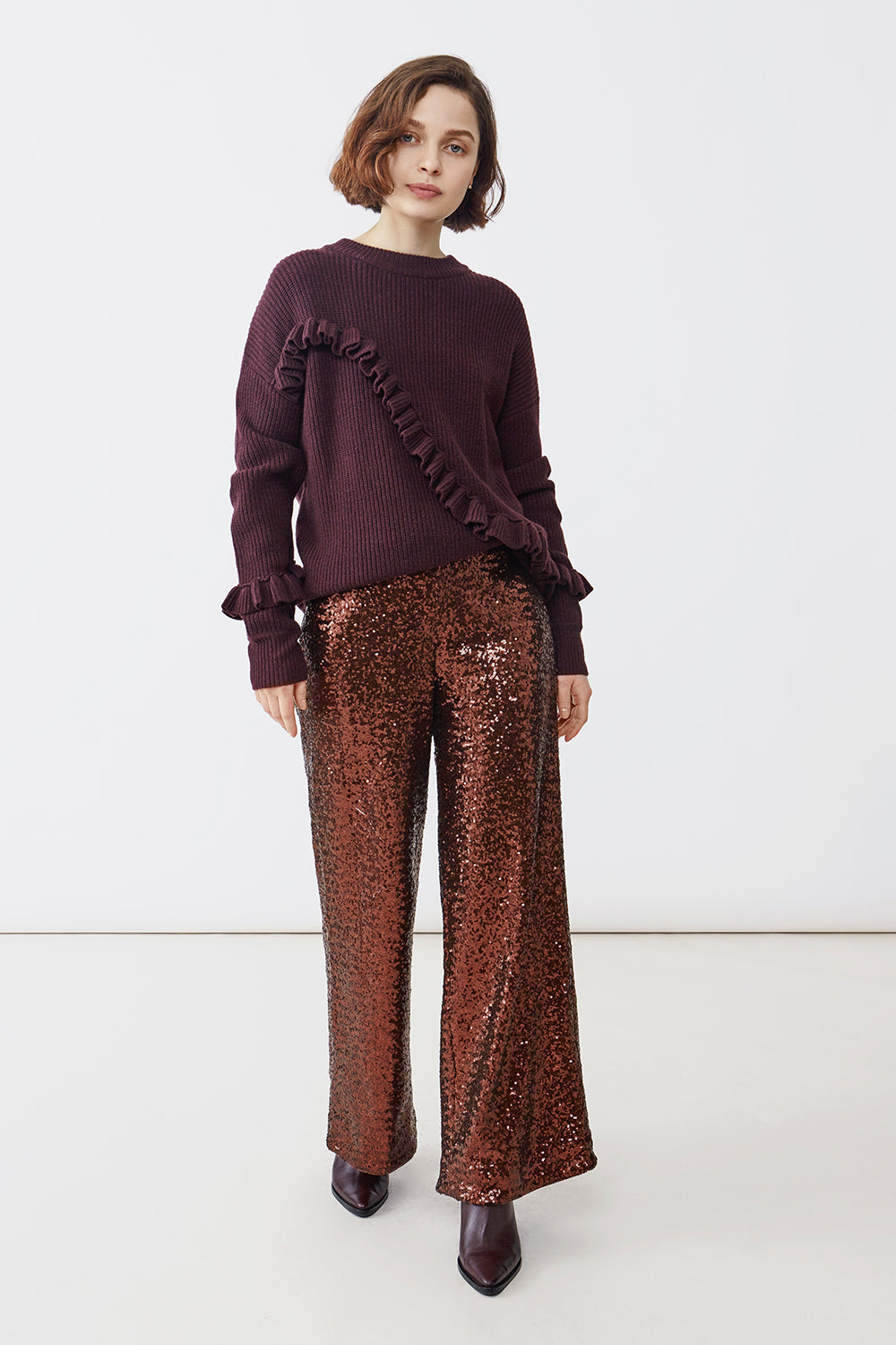MAY SEQUIN BROWN TROUSERS