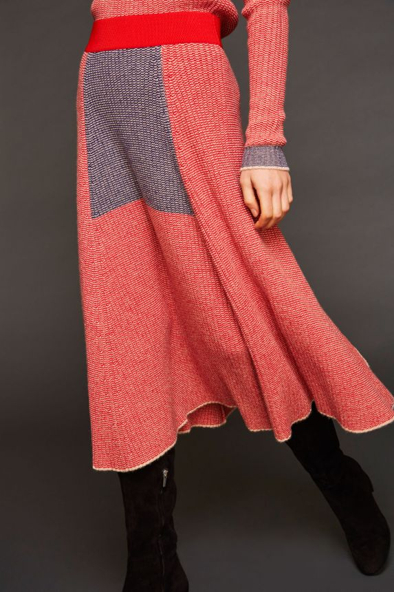 RED WOOL BLEND LINA FLARE SKIRT