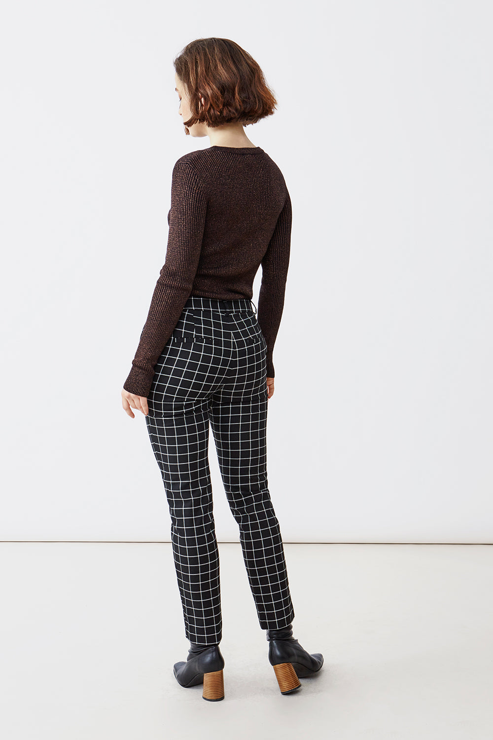JONI BLACK/WHITE CHECK TROUSERS - justBrazil store