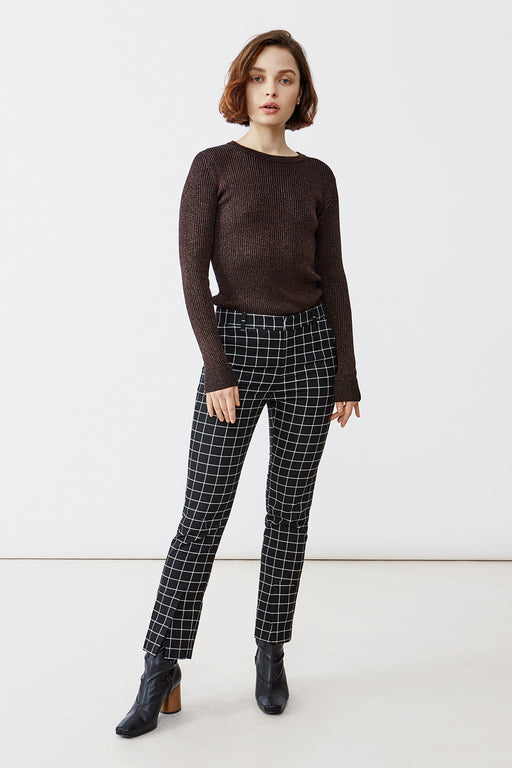 JONI BLACK/WHITE CHECK TROUSERS