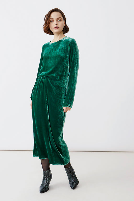 VERA VELVET DARK GREEN DRESS