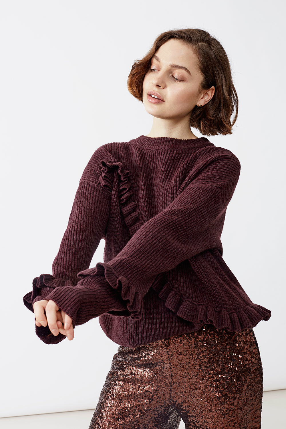 SONJA FRILL DEEP PURPLE SWEATER