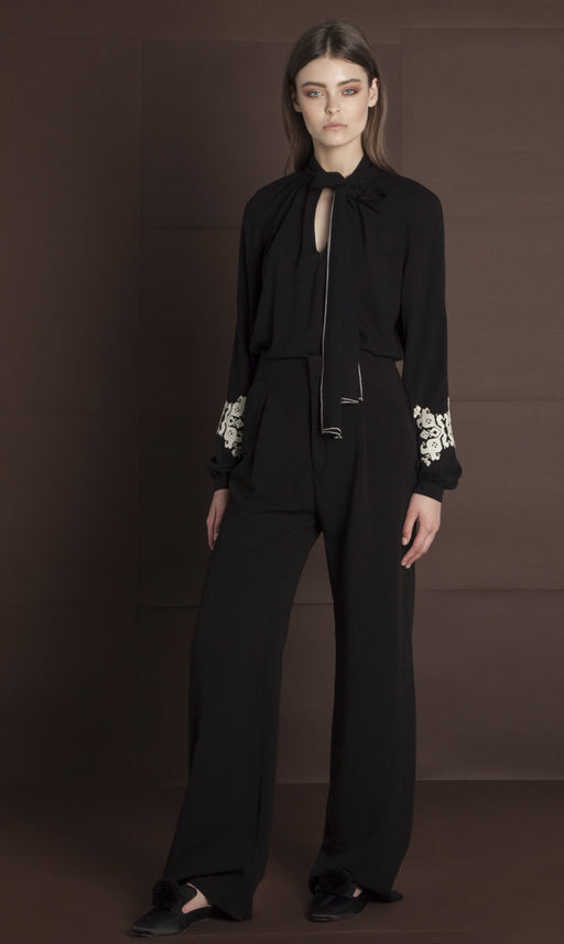 PERSEPHONE EMBROIDERED BLACK BLOUSE