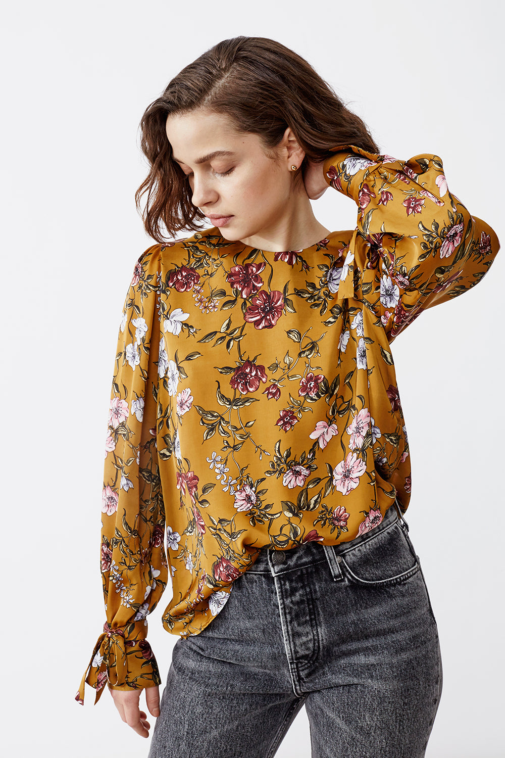 EDINA RUST FLOWER  BLOUSE
