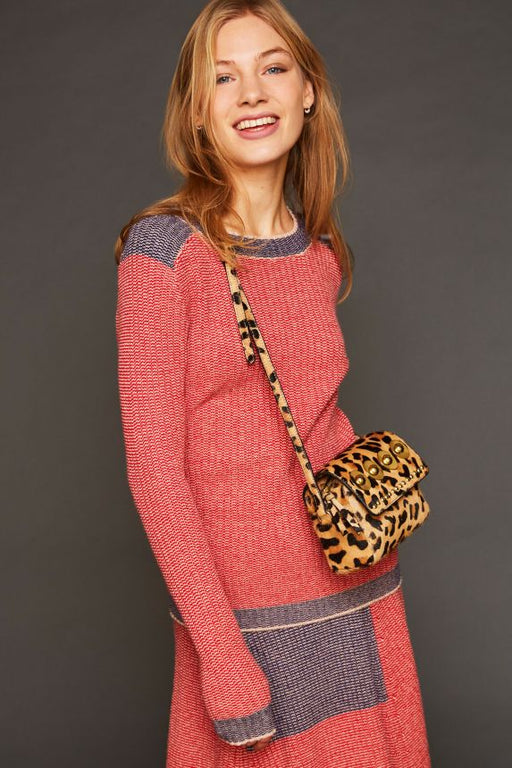 RED FITTED WOOL BLEND LINA PULLOVER