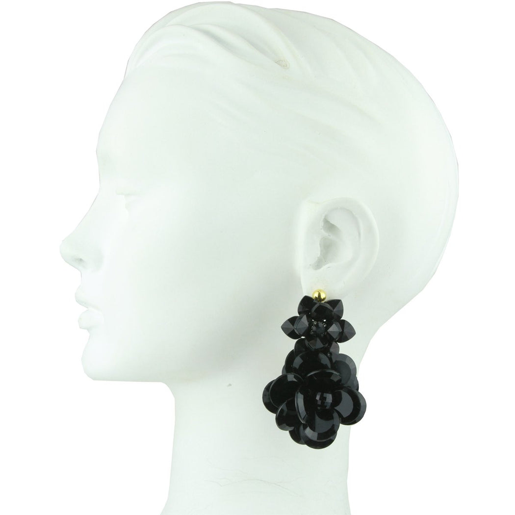 SYLVIA DOUBLE BLACK FLOWER DANGLE EARRINGS