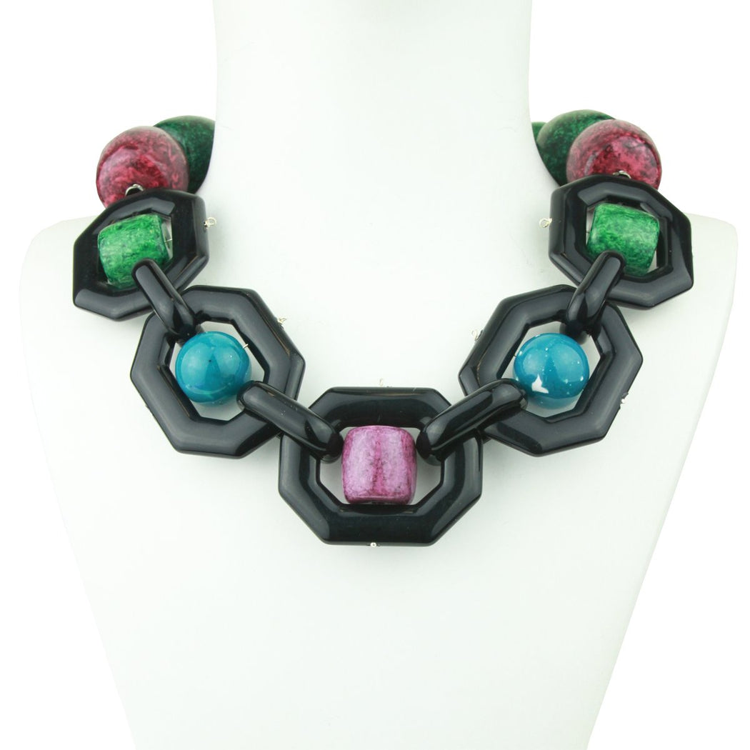 MEMPHIS ACRYLIC STATEMENT NECKLACE