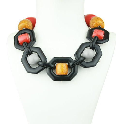 MEMPHIS ORANGE/YELLOW ACRYLIC STATEMENT NECKLACE