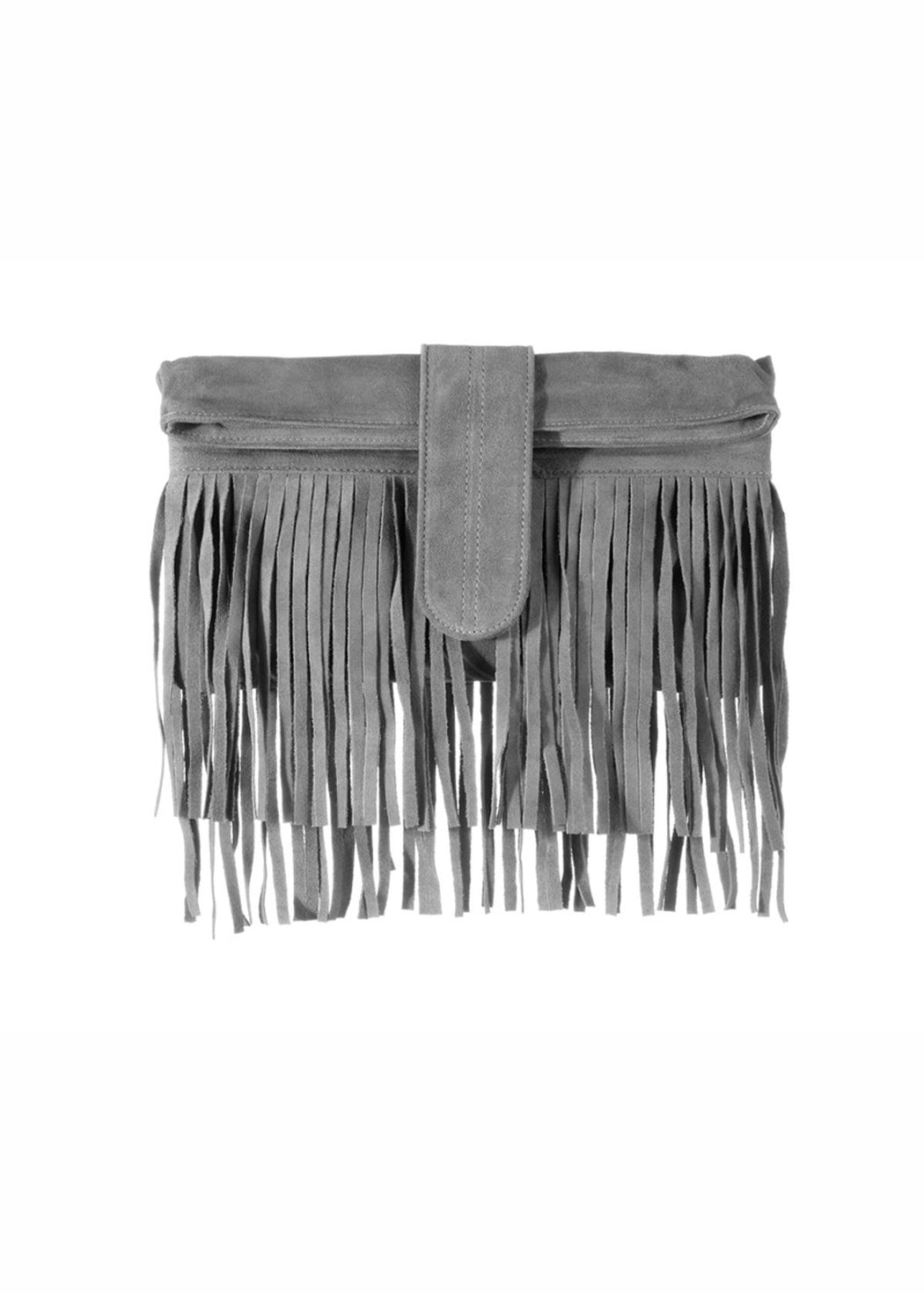 SUEDE DOUBLE FRINGE GREY CLUTCH
