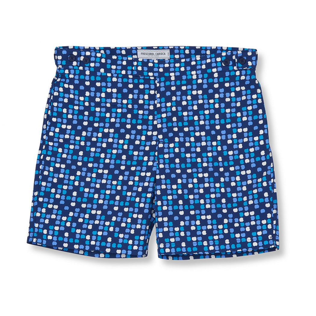 AQUARELA BLUE DOT LONG SWIM SHORTS - justBrazil store