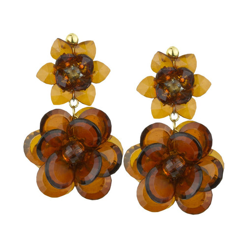 SYLVIA DOUBLE TORTOISE FLOWER EARRINGS