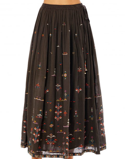 VIVI EMBROIDERED LONG CHARCOAL SKIRT - justBrazil store