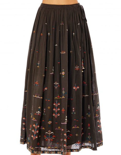 VIVI EMBROIDERED LONG CHARCOAL SKIRT