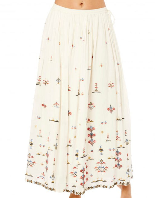 VIVI EMBROIDERED LONG ECRU SKIRT - justBrazil store