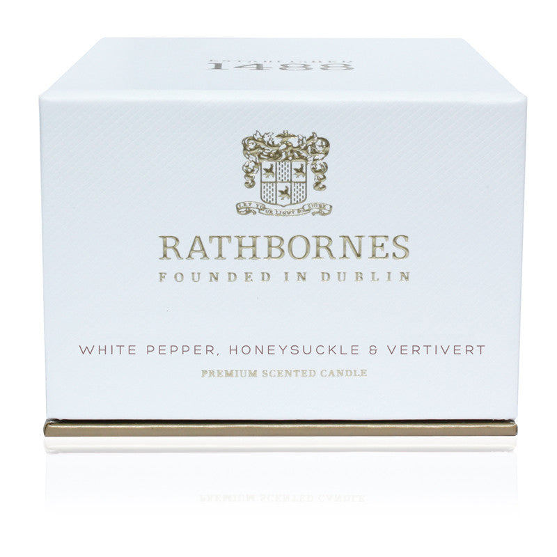 White Pepper, Honeysuckle & Vetivert Scented Travel Candle