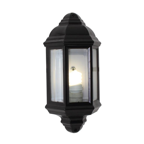 Wall Lantern Half Bevelled Glass Black