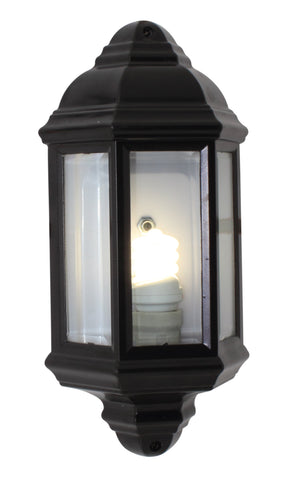 Lantern Half Bevelled Glass Black
