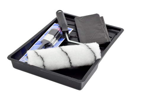 Academy Paint Roller Tray Set & 3Pce Paint Brush Set & Drop Sheet