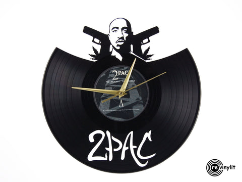 2Pac vinyl clock, vinyl record clock ||| by Revinylit