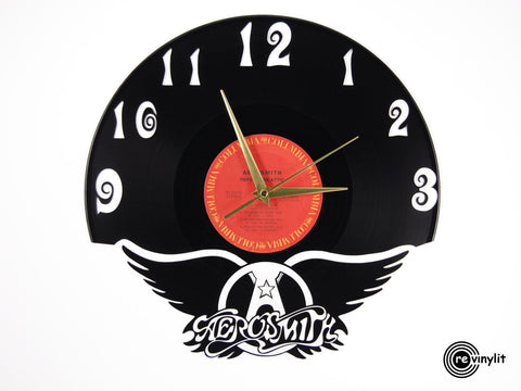 Aerosmith vinyl clock, vinyl record clock ||| by Revinylit