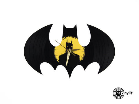 Batman logo vinyl clock, vinyl record clock ||| by Revinylit