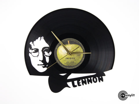 John Lennon clock, vinyl record clock ||| by Revinylit