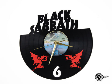 Black Sabbath clock, vinyl record clock ||| by Revinylit