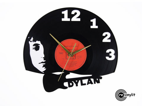 Bob Dylan clock, vinyl record clock ||| by Revinylit