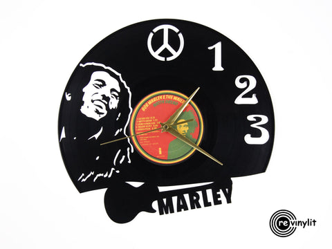 Bob Marley clock, vinyl record clock ||| by Revinylit