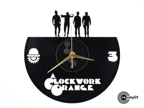 Clockwork Orange vinyl clock, vinyl record clock ||| by Revinylit