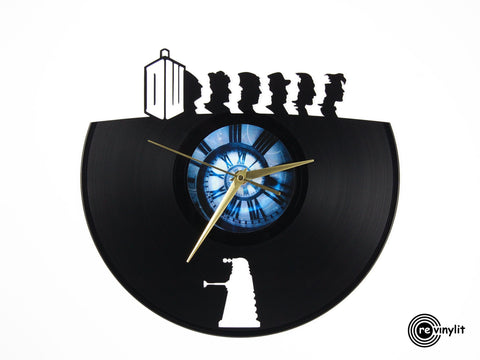 Doctor Who, Dr. Who vinyl clock, vinyl record clock ||| by Revinylit