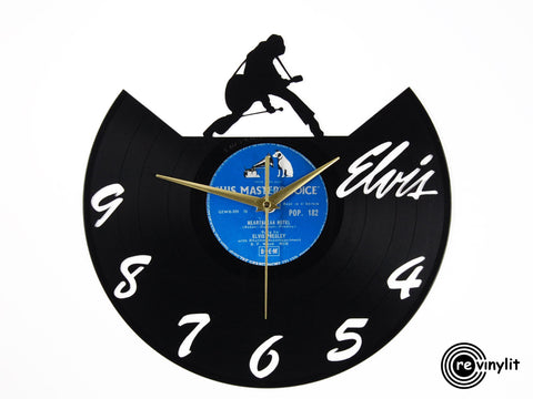 Elvis Presley clock, vinyl record clock ||| by Revinylit
