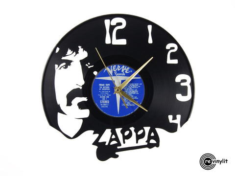 Frank Zappa clock, vinyl record clock ||| by Revinylit