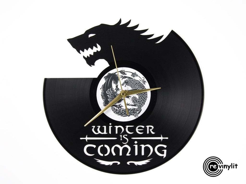 Game of Thrones Stark vinyl record clock
