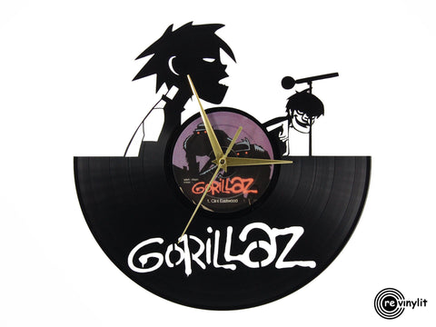 Gorillaz clock, Clint Eastwood vinyl record clock ||| by Revinylit