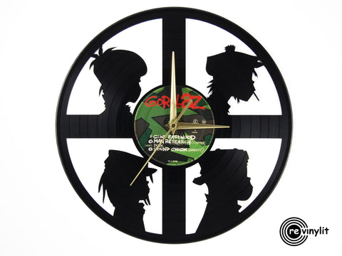 Gorillaz clock, vinyl record clock ||| by Revinylit